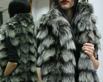 New Real Natural SILVER FOX Fur Vest!