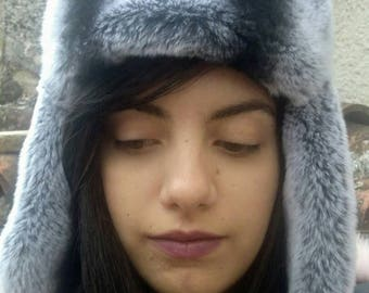 New!Natural,Real Rex Fur trapper hat with leather!Unisex