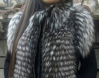 New,Real Natural SILVER Fox Fur and Leather Vest!