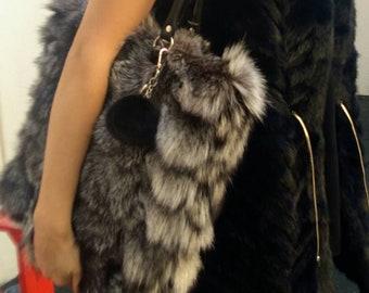 New!Natural,Real SILVER FOX SHOPPER Bag!