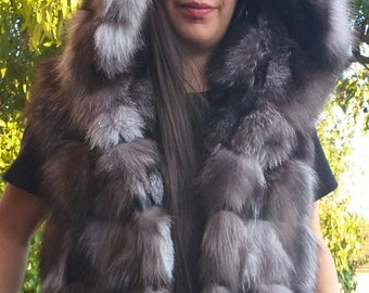 LONGER VERSION of the New, Natural Real HOODED Silver Fox Fur Vest!