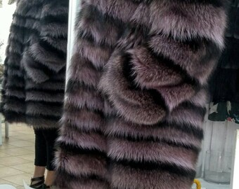New!Natural Real Fullskin Amazing color RACCOON Hooded Fur Coat
