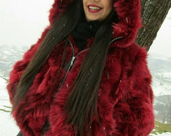 BOMBER HOODED FOX jacket!Brand New Real Natural Genuine Fur!