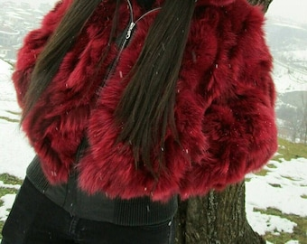 New,Natural Real Fox Hooded BOMBER jacket in Burgundy color!