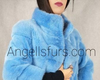 New Natural Real Amazing BABY BLUE Fullskin MINK fur jacket! Order Any color!