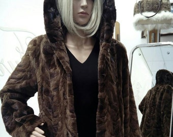 NEW!!!Natural Real Mink hooded fur!