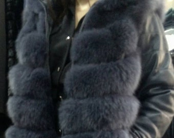 New,Natural,Real Hooded Fullskin FOX Fur with DETACHABLE leather Sleeves!