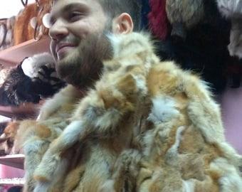 MEN'S NEW FUR!!! Real Natural Red Fox Fur Jacket!