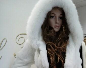 NEW!!!Natural Real Hooded White fullskin Rabbit Fur Coat with fox!!!