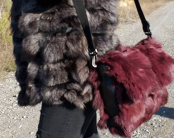 New!Natural,Real Burgundy color Fox Fur Shoulder Bag!
