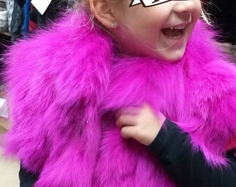 New!!! GIRL'S Natural Real Fox Fur vests in ANY color or size!