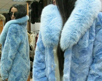 New Natural Real LIGHT BLUE MINK fur coat with Fox! Order Any color!