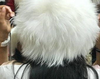 New!Natural,Real Pearl White Fox Fur HAT!