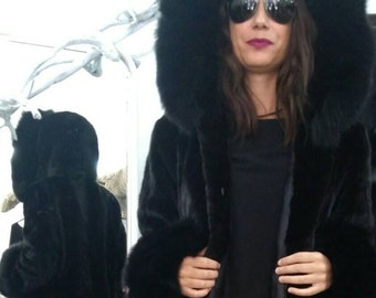 NEW!Natural Real Hooded Mink Fur Coat