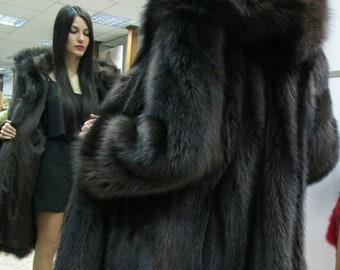 New!Natural Real Fullskin RACCOON Hooded Fur Coat!!!