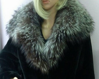 New!Natural Real Beautiful Black Fullskin REX Fur Coat with Silver Fox collar!