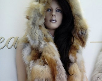 New!Natural Real Hooded RED FOX Vest!