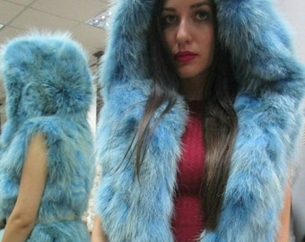 New!Natural Real LIGHT BLUE!Hooded Fox Fur vest