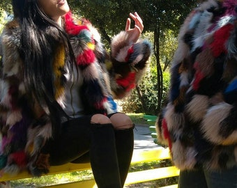 MuLTiCoLoR FOX!New,Natural Real Fur fox jackets!