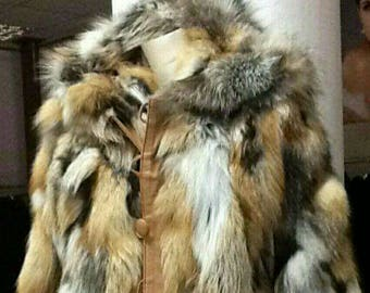 MEN'S New!Real Natural Hooded Silver Kross FOX Fur Jacket with leather buttons!