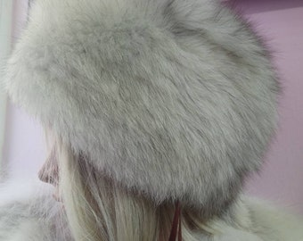 New!Natural,Real Fullskin Blue Fox Fur HAT!
