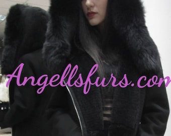 New!Natural Real Hooded Sheepskin Black coat!