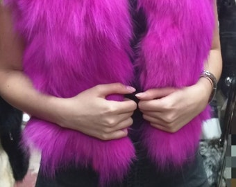 New!Natural Real Magenta color Fox Fur short vest!
