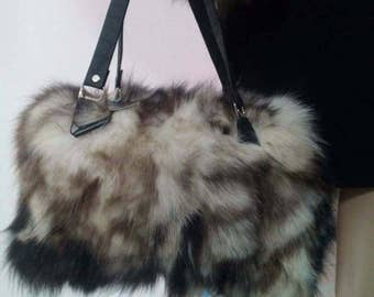 New!Natural,Real Fox FUR BAG!!!