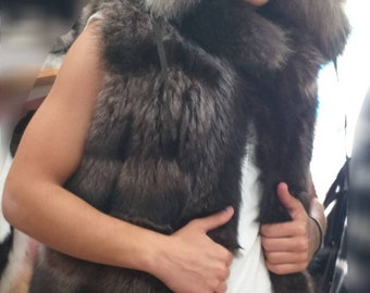 MEN'S!New Real Natural Raccoon Fur VEST!