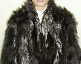 NEW!Natural Real Dark Silver FOX FUR Bolero!