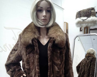 NEW!Natural Real brown Mink Fur jacket with fox collar!