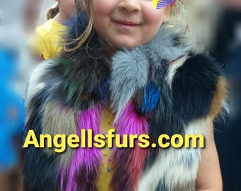 New for kids! Natural Real Fox Fur long vests in ANY color or size!