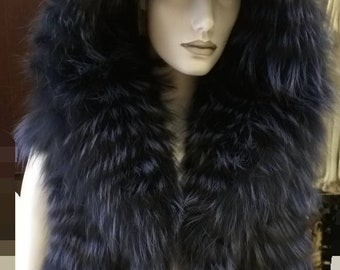 NEW! Natural,Real Fullskin Hooded PURPLE Fox  Fur Vest!New Model!
