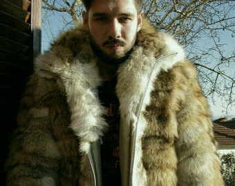 MEN'S NEW!!! Real Natural  Hooded COYOTE Fur Jacket!