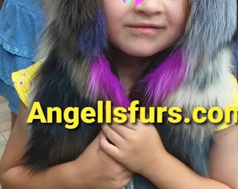 New for kids! Natural Real Fox Fur hooded vests in ANY color or size!
