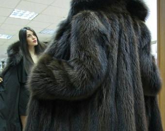 New!Natural Real Fullskin A-LINE Brown RACCOON Fur Coat!!!