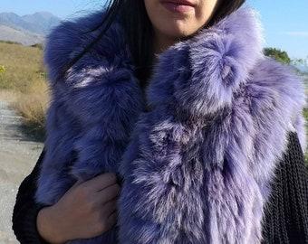 New!Natural Real LILAC Fox Fur Vest!