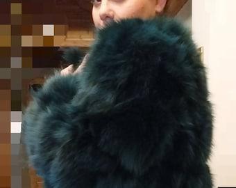 GREEN LOVER!New,Natural, Real Modern model Fox Fur Coat!
