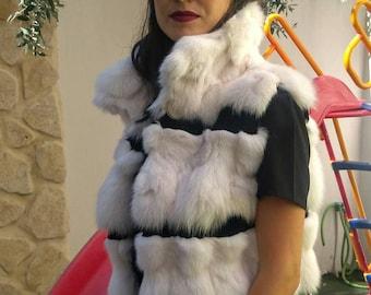 NEW!!! Natural,Real  Fox Fur Vest