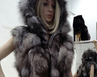 NEW! Natural Real Silver Fox Fur Vest!
