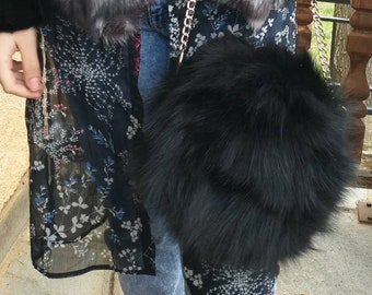 New!Natural,Real BLACK Fox FUR and leather BAG!