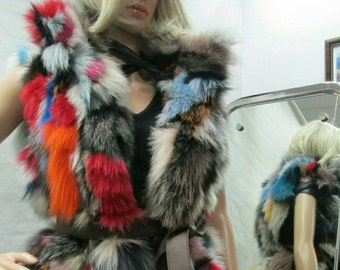 NEW in Natural,Real PLayFuL MuLTIcoLoR Fox fur Vest!