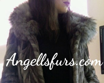 NEW!Natural Real Hooded MINK Fur Coat! Order Any color!