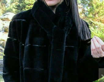 New Natural Real Modern Black Fullpelts REX Fur Coat!