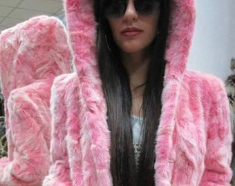 NEW!Natural Real Hooded PINK Mink  fur coat!Order in Any color!