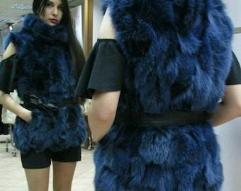 NEW!!! Natural,Real BLUE color Fox Fur Vest!!!