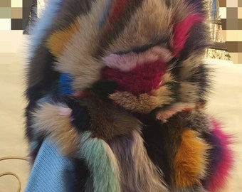 NEW in!Natural,Real MuLTIcoLoR FOX fur HOODED Vest!