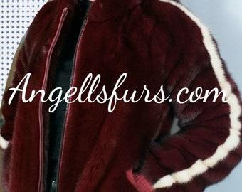 New Natural Real Amazing Bordeaux Red Fullskin MINK fur bomber jacket! Order Any color!