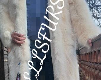 Men'S New Real Natural Hooded  FULL LENGTH FOX Fur Coat!