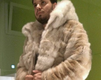 MEN'S NEW!!! Real Natural Hooded light color COYOTE Fur Coat!